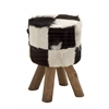 Unmissable Wood Round Black Goat Foot Stool