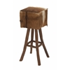 "Teak Brown Hide Bar Stool 14""W, 30""H"