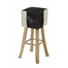 "Teak Black Hide Bar Stool 14""W, 30""H"