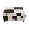 "Benzara Wood Hide Large Square Ottoman 39""W, 18""H"
