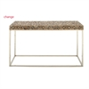 Chic Stainless Steel Teak Console Table, Brown