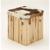 Sophisticated Wood Leather Hair Square Stool, Brown