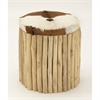 Refined Wood Leather Hair Round Stool, Brown