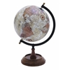Benzara Wooden And Metal Globe In Brown Finish And Intricate Detailing
