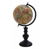 Metal Globe With Intricate Detailing And Smooth Brown Wooden Base