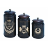 Canisters With Cylindrical Jars & Matching Lids - Set Of 3