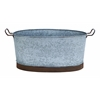 Benzara Metal Galvn Oval Tub With Crepe Design And Metallic Handles