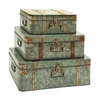 Metal Galvanized Trunks With Mixed Style - Set Of 3