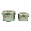 Benzara Traditional Metal Galvanized Round Box - Set Of 2