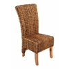 Benzara Mahogany Abaca Leaf Chair With Light Brown Coating & Back Rest