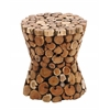 Benzara Teak Material Wooden Rustic Stool In Rich Natural Textures