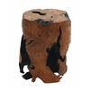 Benzara Crafty And Round Solid Wheel Solid Stool In Natural Texture