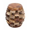 Benzara Solid Wooden Teak Material Stool With Rich Brown Textures