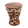 Benzara Round Shaped Teak Wooden Accent Table In Natural Rich Textures