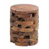 Contemporary Style Wooden Teak Stool With Ergonomic Construction