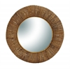 Benzara Brown Tamper Mirror With Sturdy Solid Frame In Round Shape