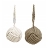 Assorted Rope Doorstop With Pearl White Texture Beige - Set Of 2
