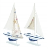 Benzara Wooden Sailing Boat With Assorted Carved Edges - Set Of 2