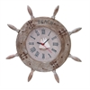 "Wood Ship Wheel Clock 20""D Nautical Maritime Decor"