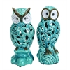 "Benzara Decorative Ceramic 11"" Owl In Blue With Well Design (Set Of 2)"