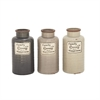 Chick Ceramic Family Jar 3 Assorted, Gray, Beige, brown