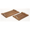 "Benzara Exclusive Teak Wood Metal Tray Set Of 2 19"", 24""W"