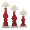 "Beautiful Glass Candle Holder Set Of 3 10"", 13"", 15""H"