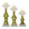 "Benzara Glass Candle Holder Set Of 3 10"", 13"", 15""H"