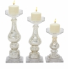 "Striking Glass Candle Holder Set Of 3 10"", 13"", 15""H"