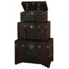 Wood Leather Trunk S/3 Set Of Three High Utility Leather Trunk