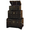Benzara Wood Leather Trunk S/3 Set Of Three Usable Leather Trunk