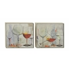 "Benzara Wine Glasses Design Wood Framed Canvas 2 Assorted 25""W, 25""H"