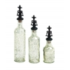 Benzara Polished Stone Glass Decor In Fabulous Shape Jar (Set Of 3)