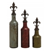 Benzara Simply Cool Glass Polystone Stopper Bottle Set Of 3