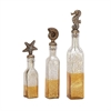 Stunning Glass Ps Bottle Stopper, Antique Silver, Set Of 3