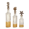 Lovely Glass Ps Bottle Stopper, Antique Silver, Set Of 3