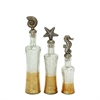 Nautical Themed, Gold, Silver, Set Of 3 Glass With Resin Decor Jar