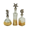 Chic, Gold, Silver, Set Of 3 Glass With Resin Decor Jar