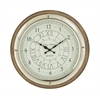 Round Wood Steel Wall Clock
