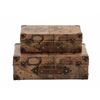 Era Styled Wood Faux Leather Case Set Of 2