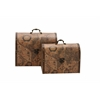 Benzara Suitcase Style Wood Faux Leather Box Set Of 2