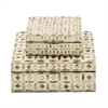Attractive, Off white & Brown, Set Of Two Boxes, Mop Lacquer