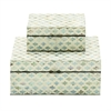 Appealing, White & Pearl, Set Of Two Wood Mop Inlay Box