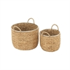 Durable, Natural Wood, Set Of Two Sea Grass Baskets