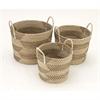 Adorable Sea Grass Basket, Beige, White & Black, Set Of 3