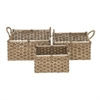 Attractive Sea Grass Basket, Brown & Natural wood, Set Of 3
