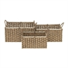 Trendy Sea Grass Basket, Brown & Natural wood, Set Of 3