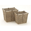 Mesmerizing Sea Grass Metal Basket, Brown & Natural wood, Set Of 2