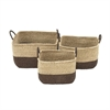 Fabulous Sea Grass Basket, Brown and Beige, Set Of 3