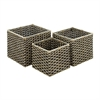 Functional Sea grass Metal Basket, Shades Of Brown, Set Of 3